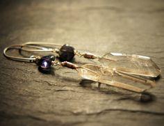 Violet Iolite Quartz and Sterling Silver Dangle by DakiniUK