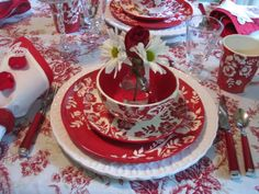 Designs by Pinky: red and white dishes