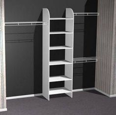 closet idea - with horizontal upper shelves & floor cubes on left side