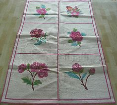 4'x6' English Garden Roses Butterfly Wool Needlepoint Area Rug~New~Free Shipping