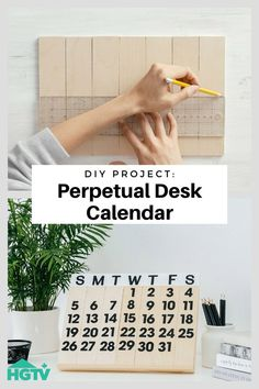 DIY Project: Perpetual Desk Calendar Make your own stylish (and sustainable) calendar with this easy wooden desk version that's usable year after year! It's a creative way to st Diy Craft Projects, Diy Crafts, Diy Projects Videos, Hacks Videos, Diy Calendar, Desk Calendars, Do It Yourself Quotes, Diy Kit, Diy Décoration