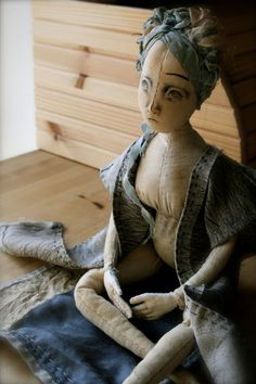 Ada Embroidered Calico Cloth Art Doll by ThePaleRook