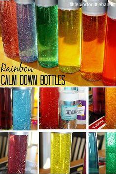 Rainbow glitter bottle calm down sensory bottle for kids