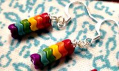 Cute Mini RAINBOW Chevron Multicolor Striped Earrings by SparkleCatStudio. I will also be adding cat and dog charms to these for 'Rainbow Bridge' jewelry. Custom orders welcome. We donate 25% of our proceeds to animal rescues: The Humane Society of Alamance County and The Biscuit Foundation. We are fostering cats in our home and help raise awareness and volunteer regularly with both organizations. Please find us on Facebook: https://www.facebook.com/SparkleCatStudio