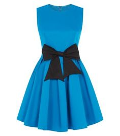 """Madam Rage. Pair this bright blue skater dress with black cut out heels - for a stand out occasion style.- Sleeveless design- Zip back fastening- Round neck- Bow front detail- Fit and flare design- Cinched waist- Mini length- Model is 5'8""""/176cm and wears UK 10/EU 38/US 6"""