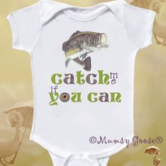Funny Onesie Baby Bodysuit Fishing Onesie, Boy Creeper Newborn Romper to Kid tees. $14.95, via Etsy.