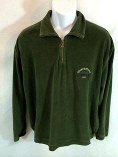 Tommy Bahama Sweater Half Zip Green Men's Large Long Sleeve Cotton Blend Relax #TommyBahama #12Zip