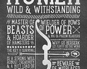 World of Warcraft / Roleplaying Medieval / Fantasy Inspired Type Print - HUNTER Edition