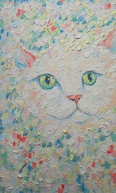 White Cute Cat Face Portrait Original Handmade Pastel Oil Painting Miniature…