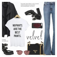 """""""Crushing on Velvet"""" by novalikarida ❤ liked on Polyvore featuring M.i.h Jeans, Prada, Oliver Peoples and Kendall + Kylie"""
