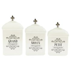 Featuring striking fleur-de-lis finials and elegant typography, this 3-piece canister set brings the feel of French country cottages to any room.
