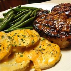 Grilled Brown Sugar Pork Chops - Swapped Worcestershire sauce for Soy sauce, unsweetened apple sauce for apple juice, and coconut oil for vegetable oil. Decreased oil to 1 tbsp.