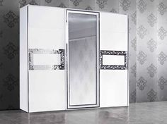 Garde-robe blanc laqué ultra design à 3 portes