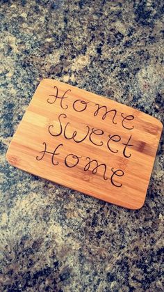 Home sweet home small chopping board floral and by RockeryCottage