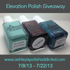 Elevation Polish Giveaway!http://www.ashleyispolishaddicted.com/2013/07/elevation-polish-giveaway.html