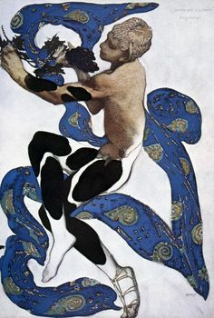 "Bakst- Nijinsky as the faun in the ballet_Afternoon of a Faun Title:バレエ「牧神の午後」(ドビュッシー作曲)衣装デザイン Costume design for the ballet ""The Afternoon of a Faun"" Эскиз костюма к балету ""Послеполуденный отдых фавна"" Artist:レオン・バクスト Leon Bakst Леон Бакст Art Nouveau, Art And Illustration, Ballet Russo, Faun Costume, Afternoon Of A Faun, Eslava, Poster Size Prints, Art Prints, Vintage Ballet"