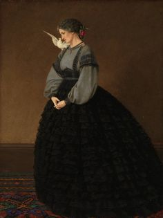 LARGE SIZE PAINTINGS: John BRETT Lady with a Dove 1864