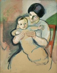 Mother and Child in a Red Chair, August Macke