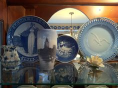 Royal Copenhagen and Bing & Grondahl plates, vase, and creamer (collection of Rebekah Myers Dunford)