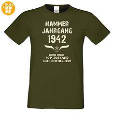 Geschenk zum 75. Geburtstag :-: Geschenkidee Herren Geburtstags-Sprüche-T-Shirt mit Jahreszahl :-: Hammer Jahrgang 1942 :-: Geburtstagsgeschenk Männer :-: Farbe: khaki Gr: 3XL (*Partner-Link)