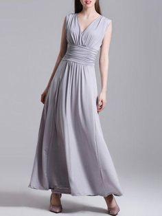 #Valentines #AdoreWe #PopJulia - #PopJulia Sleeveless Surplice Neck Ruched A-line Elegant Maxi Dress - AdoreWe.com