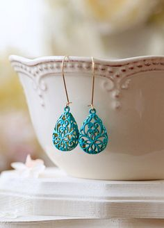 Turquoise Blue Verdigris Patina Puffy Filigree Earrings, Hollow Teardrop Filigree Dangle Earrings, Drop Earrings, Long Kidney Ear wires by LeChaim