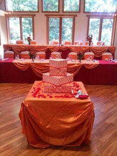 Orange wedding reception