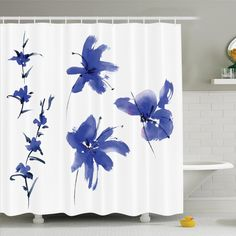 Traditional House Oriental Ancient Watercolor Inspired Plum Blossom Petals Eastern Artwork Shower Curtain Set
