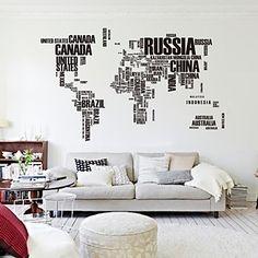 190cm * 116cm grote wereldkaart muurstickers originele zooyoo95ab letters kaart kunst aan de muur slaapkamer muur decals – EUR € 11.41