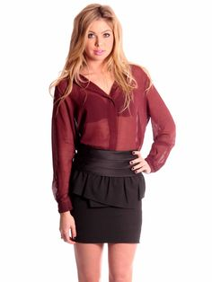 MICHAEL Michael Kors | Peplum Pleated Silk Skirt in black www.sabrinascloset.com
