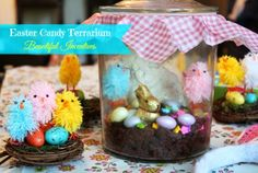 Instead individual mason jars with pudding, cookie crumbs, candy eggs & Peeps! Love Holidays, Easter Holidays, Easter Candy, Easter Eggs, Easter Crafts, Easter Decor, Easter Ideas, Summer Crafts, Fun Crafts