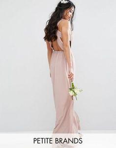 TFNC Petite – Plissiertes Maxi-Hochzeitskleid mit Rückenausschnitt
