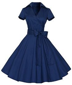 LUNAJANY Women's 50s 60s Vintage Style Swing Pinup Rockabilly Casual Dress xsmall navy LunaJany http://www.amazon.com/dp/B019CSS5HU/ref=cm_sw_r_pi_dp_VV9Owb06A61F6