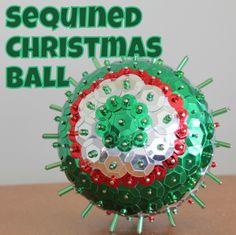 Sequined Ball Ornament - make this pretty ball ornament with a styrofoam ball, pins, sequins and beads - Tutorial - The Crafty Mummy