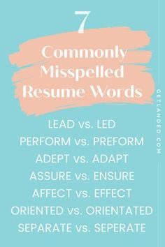Spelling errors are the #1 reason why your resume might land in the NO pile. These are the most common resume mistakes I see every day at Get Landed, so please read on to make sure you're not making these mistakes! Resume Advice, Resume Writing Tips, Career Advice, Resume Power Words, Resume Words, Cover Letters, Cover Letter For Resume, Resume Design Template, Resume Templates
