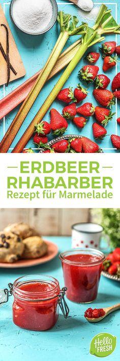 Rezept: Leckere Erdbeer Rhabarber Marmelade Wir haben ein leckeres Rezept für den Sommer für Dich! So kannst Du ganz einfach aus wenigen Zutaten fruchtige Konfitüre einkochen. Kochbox / Zutaten / Gesund / Schnell / Frühling / Einfach / DIY / Rhabarbersaison / Rhabarberrezepte #hellofreshde #kochen #essen #zubereiten #zutaten #diy #rezept #kochbox #ernährung #lecker #gesund #leicht #schnell #frühling #einfach #küche #gericht #trend #marmelade #konfitüre #rhabarber #erdbeer #rhabarbersaison