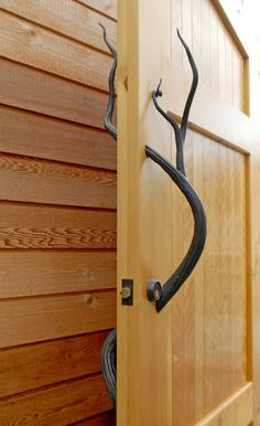 This Blacksmith, Custom Forged, Garden Gate Door Handle by Daniel Hopper Design would make a great addition to any cabin or a Western style home.