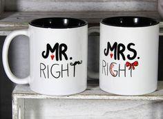 Becher & Tassen - Hochzeitsgeschenk, MrRight-Tassen - ein Designerstück von Tassen-Geschenke-by-MySweetheart bei DaWanda