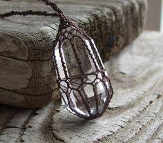 Crystal Quartz Pendant  Quartz Crystal Point  by TheTreeFolkHollow