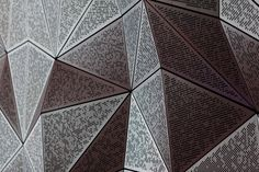 UTS Great Hall by DRAW. The perforated geometry of the Great Hall was developed with AR-MA via a detailed parametric model. Geometry Pattern, Triangle Pattern, Facade Architecture, University Architecture, Parametric Design, Shattered Glass, Ceiling Panels, Futuristic Design, Facades