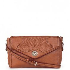 Women's Tangerine Faux Leather Woven Clutch | Janie by Sole Society
