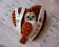 Owl in Birch Forest Brooch Made to Order by SandhraLee on Etsy