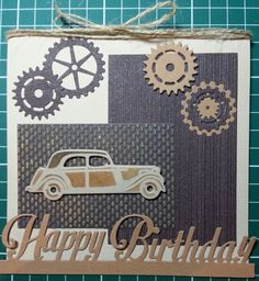 Diy And Crafts, Paper Crafts, Dad Day, Fathers Day Cards, Marianne Design, Masculine Cards, Vintage Cards, Cardmaking, Birthday Cards