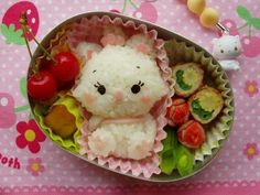 """Think this is supposed to be """"Marie"""" from Disney's, """"The Aristocats"""". Cute Bento Boxes, Bento Box Lunch, Food Art Bento, Bento Kids, Kawaii Bento, Bento Recipes, Food Decoration, Disney Food, Cute Food"""