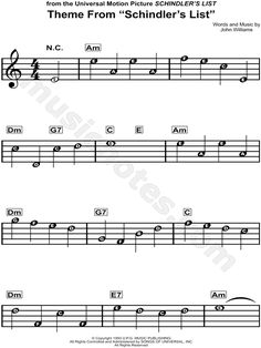 Print and download Theme from Schindler's List sheet music from Schindler's List arranged for Treble Clef Instrument or Piano. Instrumental Solo, and Piano/Chords in A Minor.