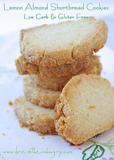 A delicious low carb recipe for lemon almond shortbread cookies that is also gluten free! This versatile dough can be made into cookies, or a tart base!