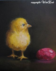 Chick egg painting still life baby chicken and by 4WitsEnd on Etsy