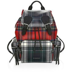 Burberry Medium Plaid Rucksack (€1.200) ❤ liked on Polyvore featuring bags, backpacks, backpack bags, tartan backpack, buckle bag, day pack rucksack and buckle backpacks
