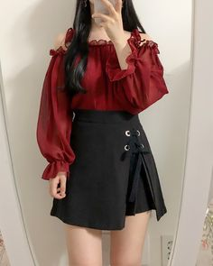 Korean Fashion Dress, Ulzzang Fashion, Kpop Fashion Outfits, Girls Fashion Clothes, Edgy Outfits, Korean Outfits, Mode Outfits, Classy Outfits, Fashion Dresses