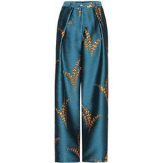Metallic jacquard wide-leg trousers